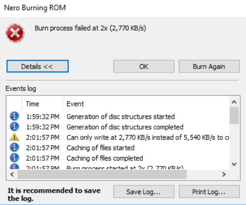 Why do I get the error 'Burn process failed …' while Burning