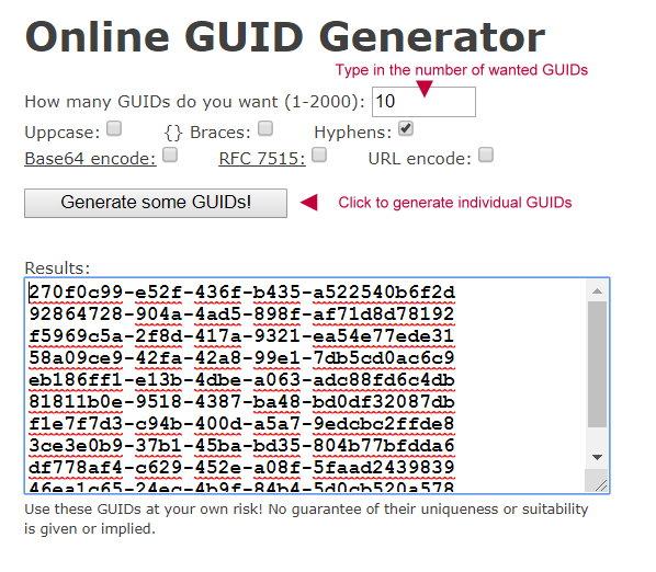 Online GUID