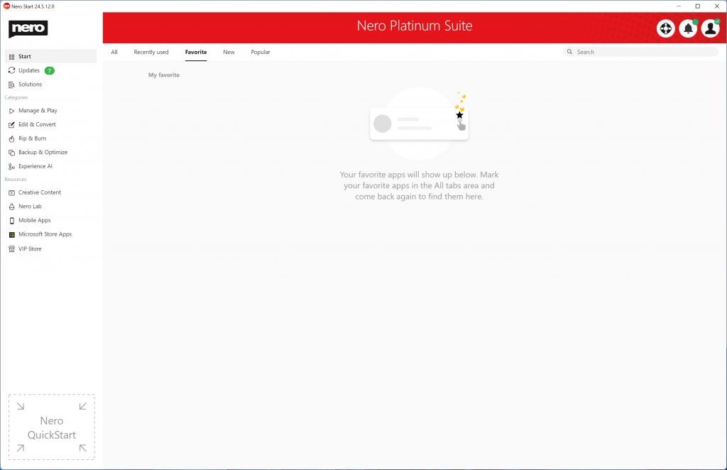 nero start-favorite null