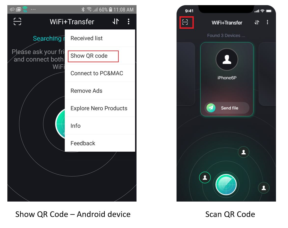 Show and QR code_WiFi+Transfer