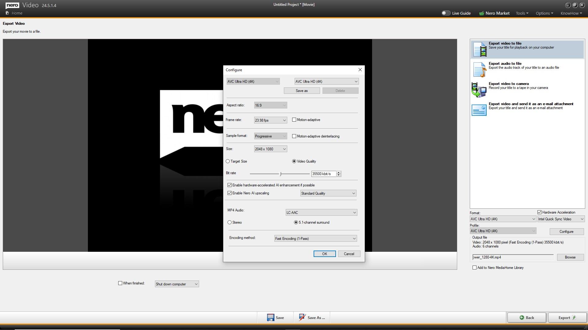 Nero AI video upscaling_configure