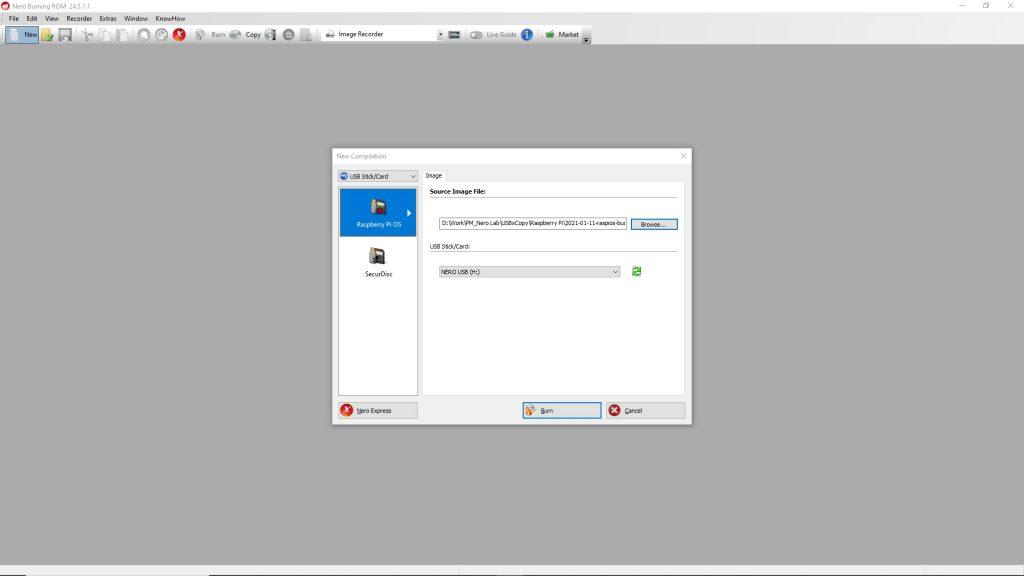 Create Raspberry Pi OS to USB stick in NBR_1